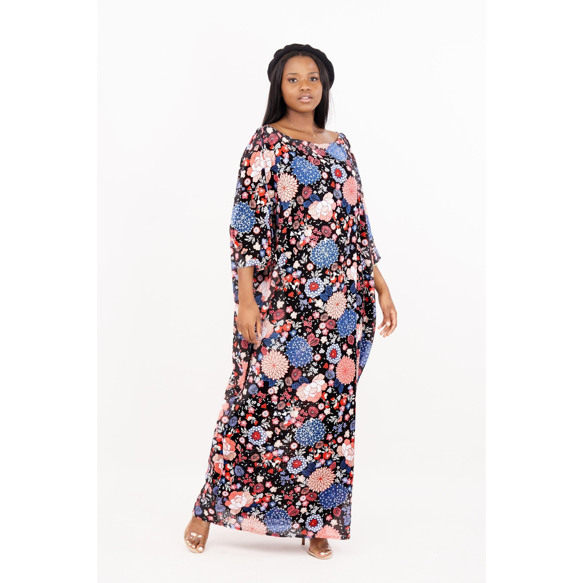 Boat Neck Luxury Handmade Kaftan ( One size fits Most)