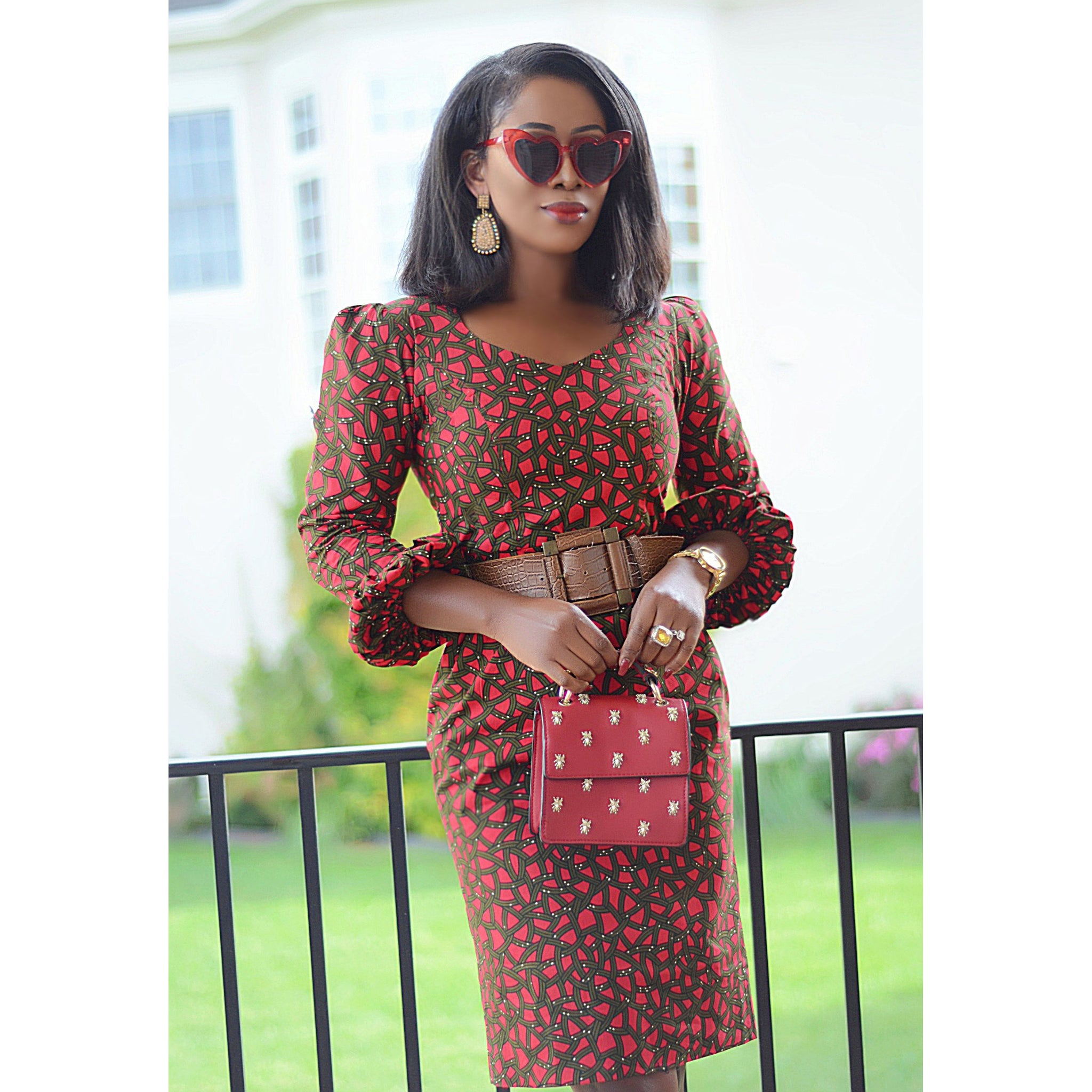 Lady Ije African print attire with modified bishop sleeves