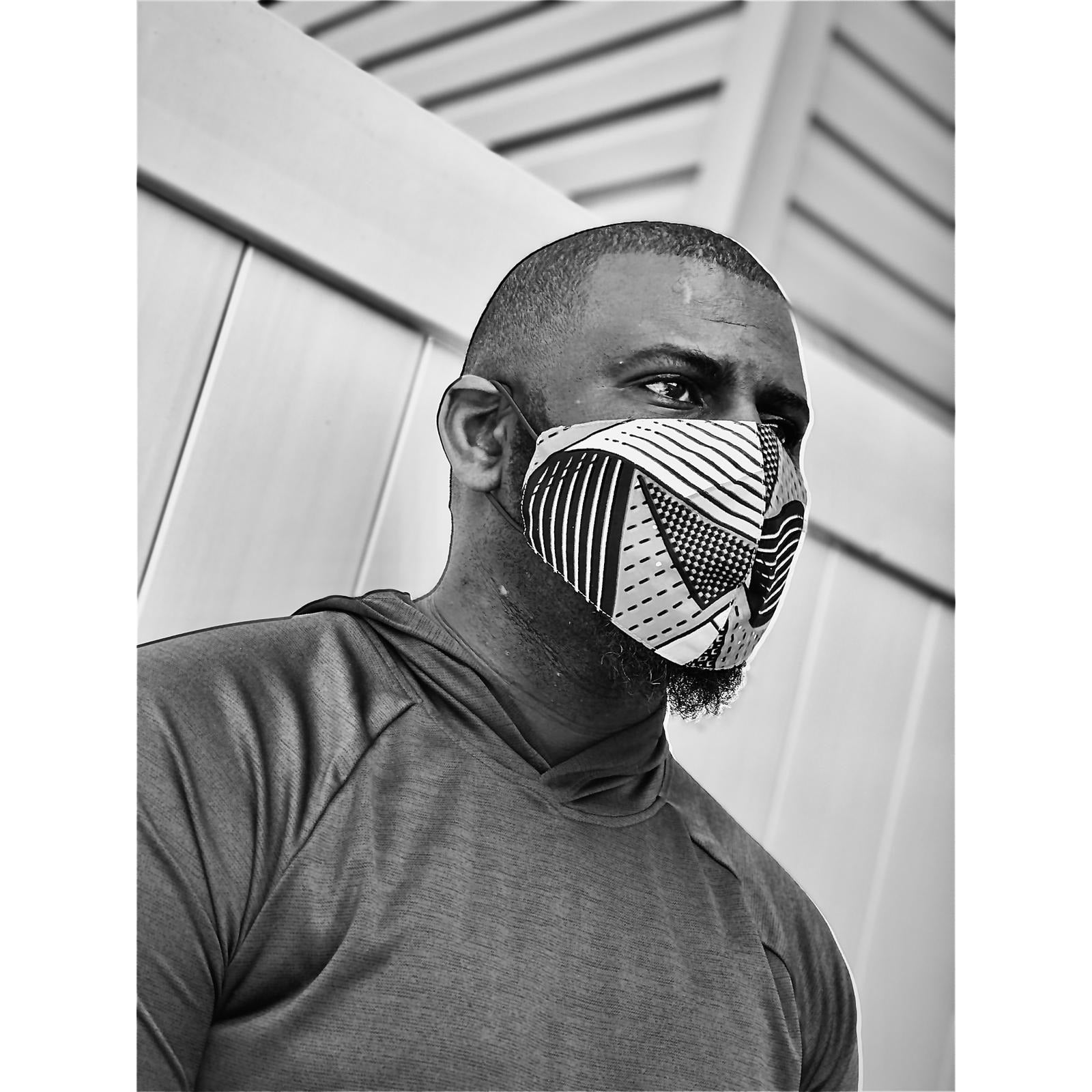 Three layered African Print Mask for Men