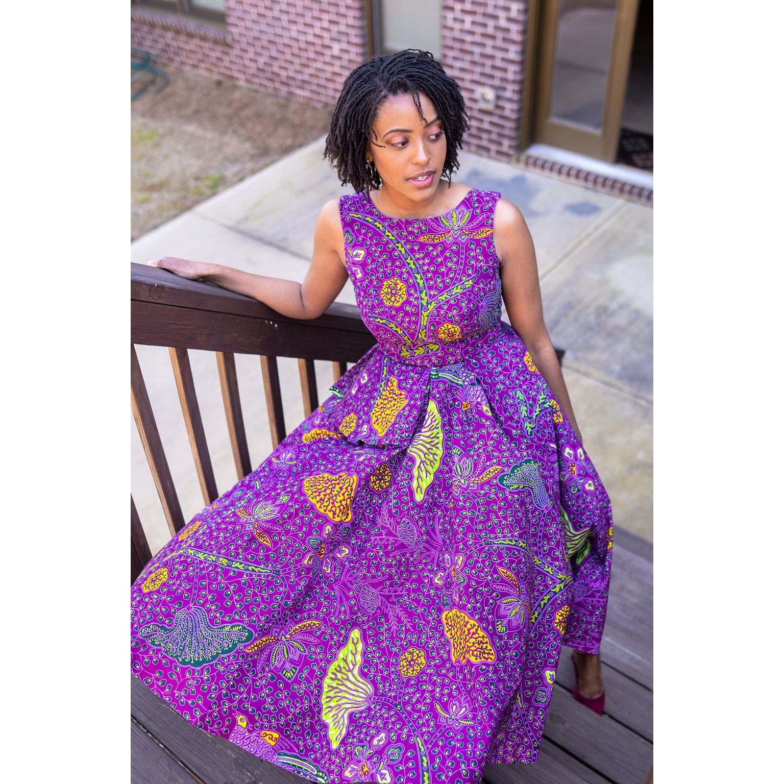 Purple Peplum African Print Dress