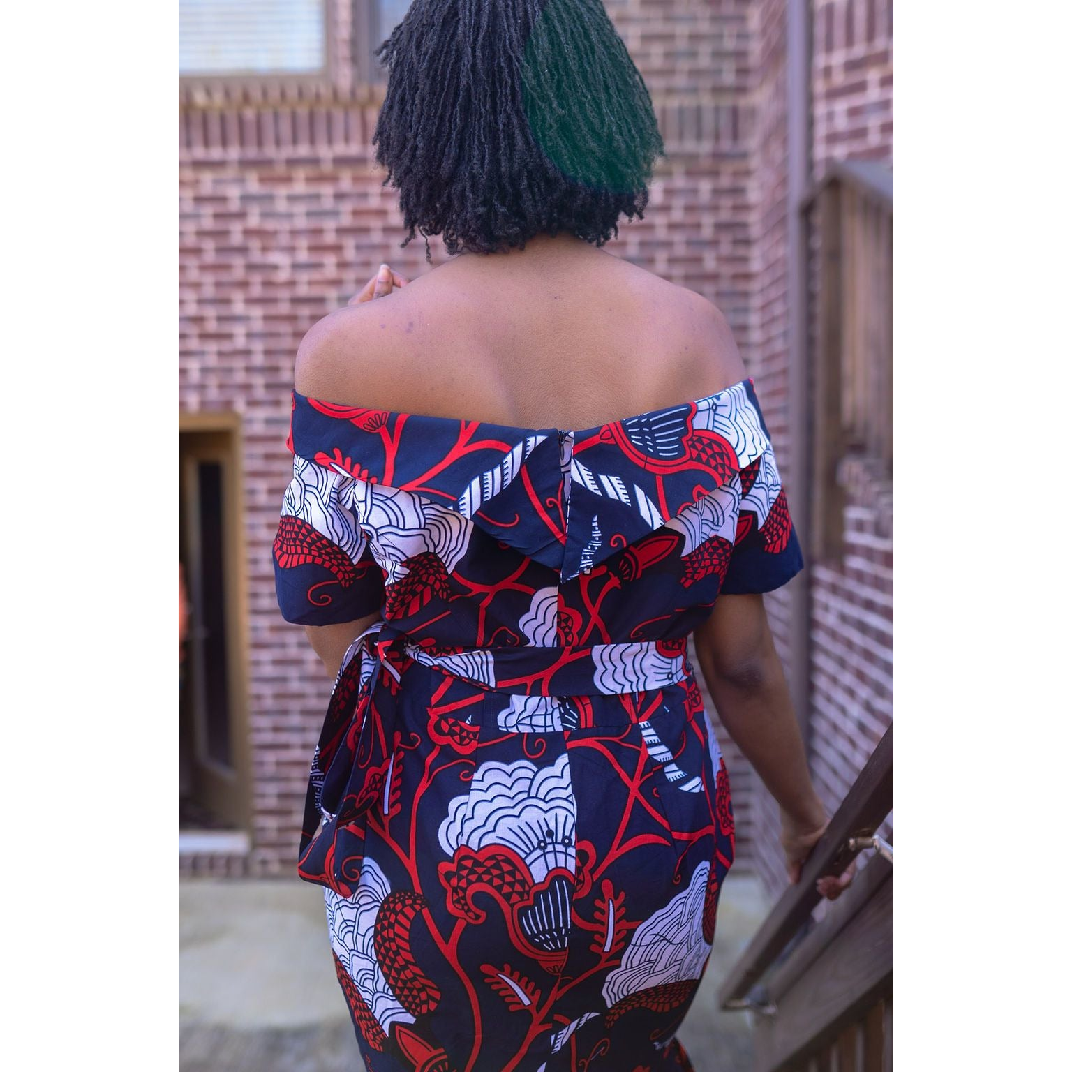 Akua print off-shoulder midi dress