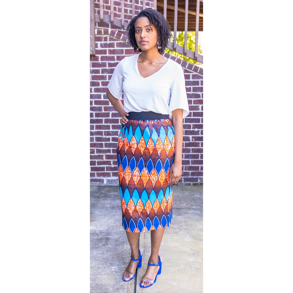 Playful Vibrant African Print Pencil Skirt
