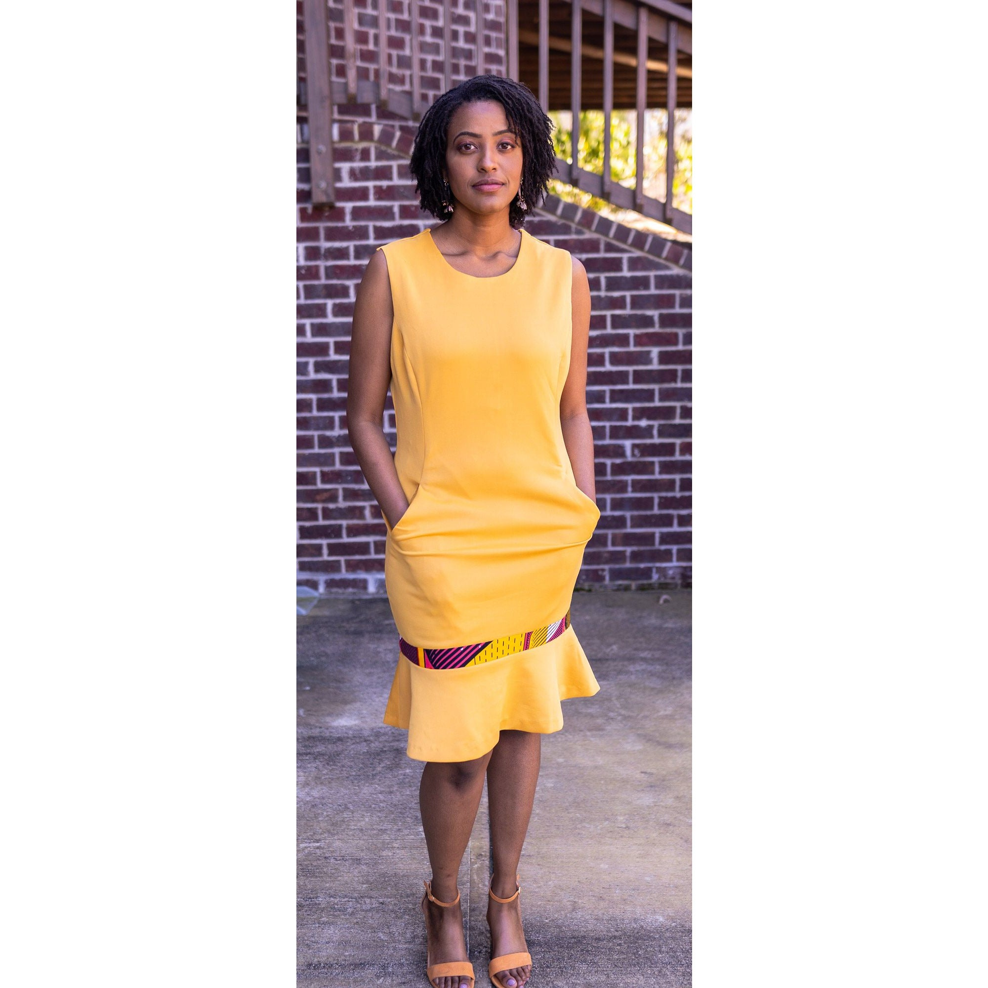 Mustard Yellow Dress with Print and Pocket