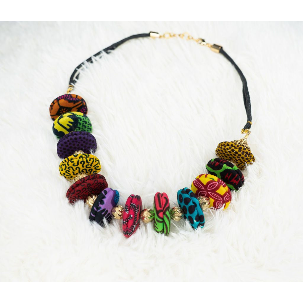 Abby colorful button and gold ball necklace