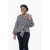 Black and white print v-round neck with bishop sleeves top