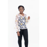 Gold and white see through print v-round neck with bishop sleeve top