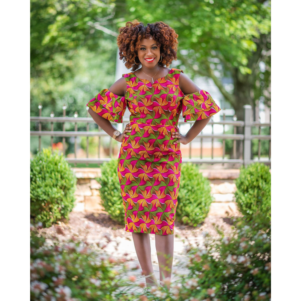 Afriyie cold shoulder flare sleeves dress