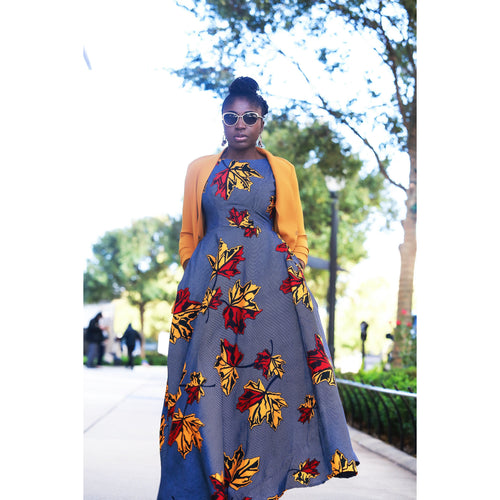 Colored leaves African print Maxi dress