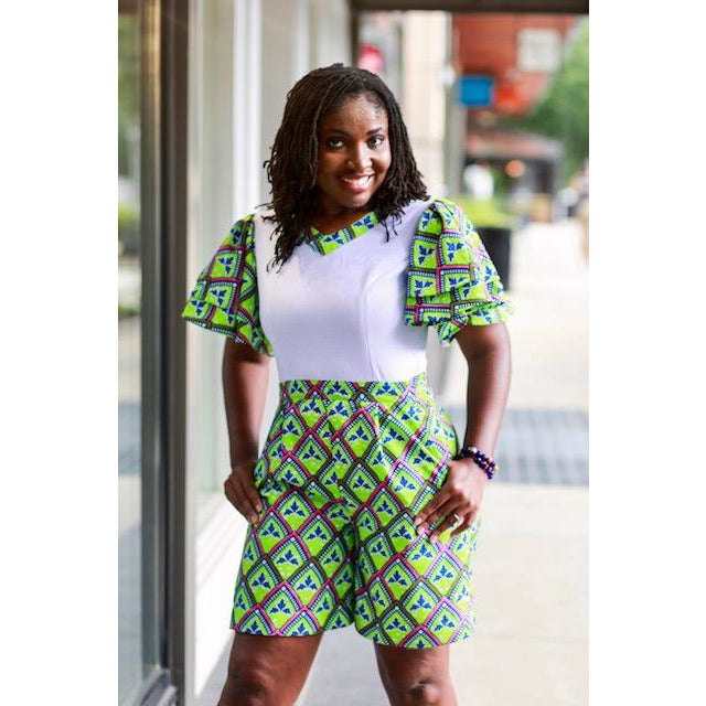 Adah African print romper with multiple cape sleeves