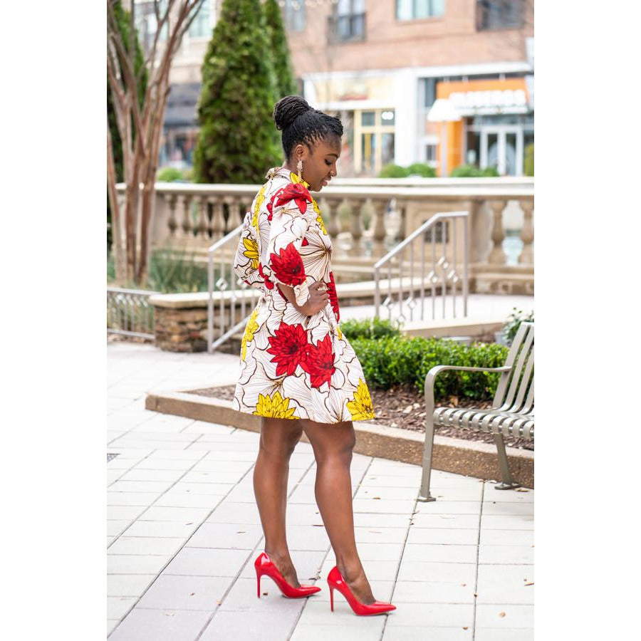 Konadu Vintage African print shirt dress with pockets