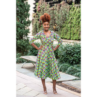Green Shirt Collar Midi African Print Dress