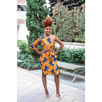One Shoulder Modern African Print Silk dress
