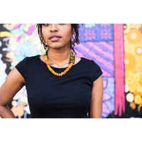 Adjustable African Print Infused Beads Necklace