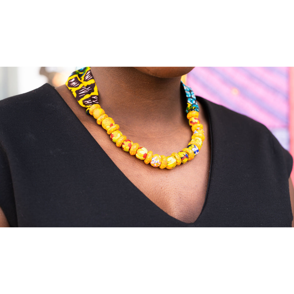 African necklaces beads - red and yellow with African print cloth