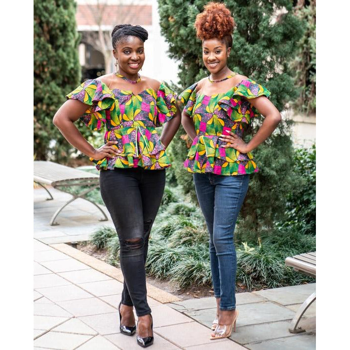 Frema African Print with Skin Tone Double Peplum Top
