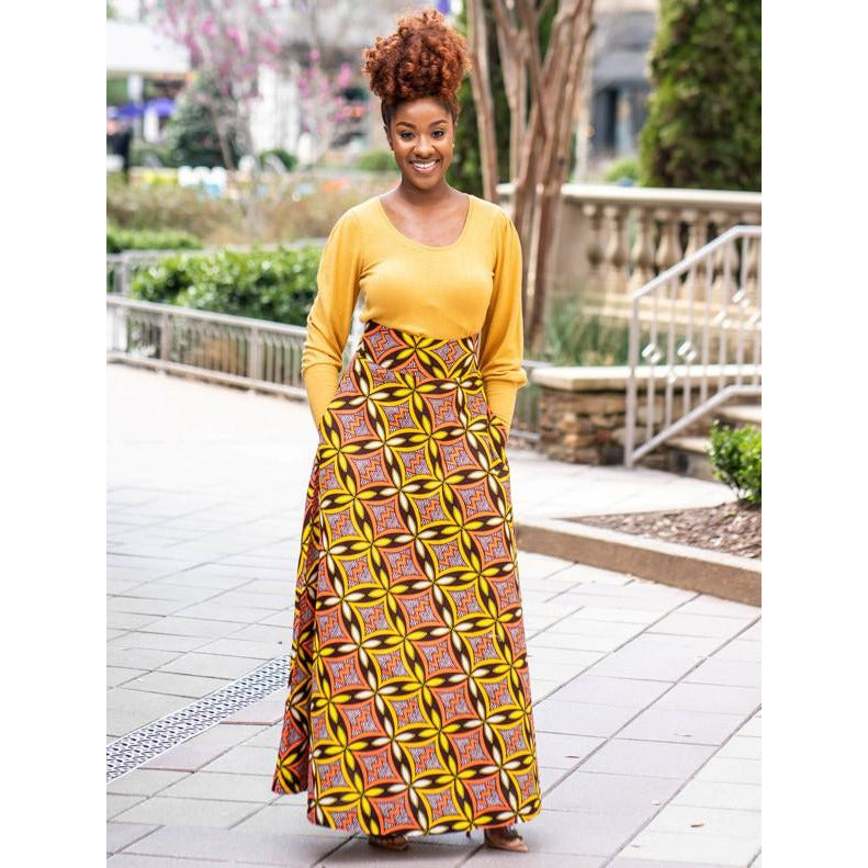 Limitless African Print Maxi Skirt with Pockets