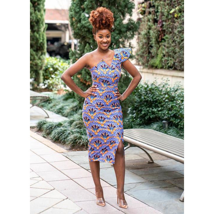 Ama V-neck, off Shoulder African Print Dress