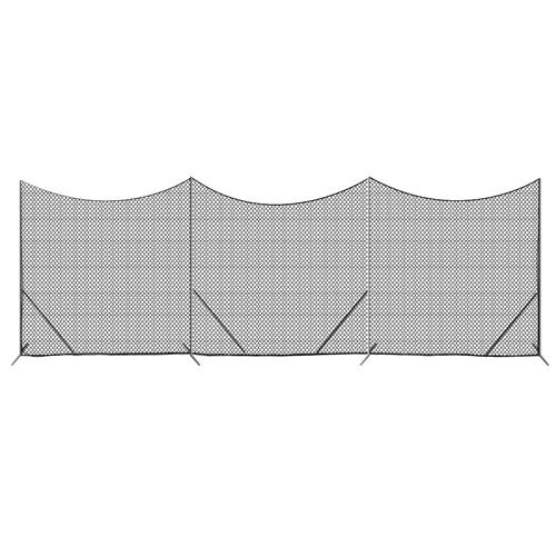 Free Standing Barrier Backstop with 3mm Black Poly Netting 10' x 30' - Predator Sports