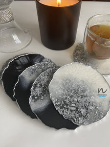 Black, Pearl White and Silver Leaf Resin Coasters (set of 6) - neerjatrehan.com