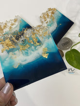 Load image into Gallery viewer, Blue, Teal and Gold Leaf Resin Coasters - neerjatrehan.com