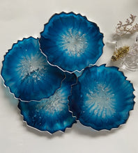 Load image into Gallery viewer, Blue and Silver Leaf Resin Coasters (set of 4) - neerjatrehan.com