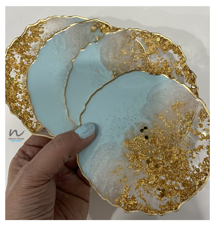 Light Blue Green, Pearl White and Gold Leaf Resin Coasters (set of 4) - neerjatrehan.com