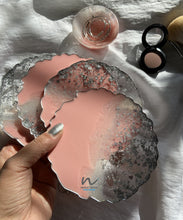 Load image into Gallery viewer, Peachy Pink and  Silver Leaf Resin Coasters (set of 4) - neerjatrehan.com