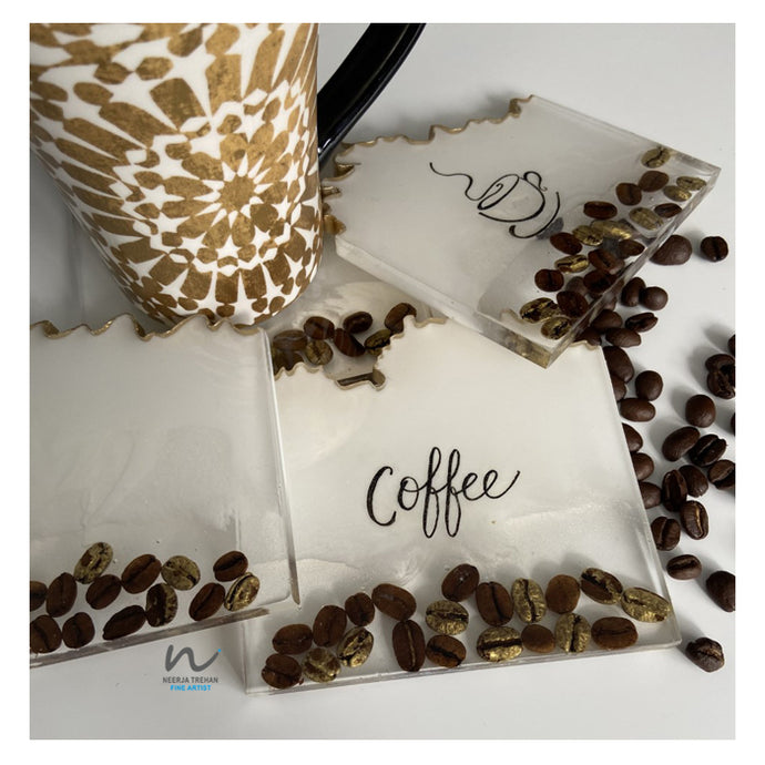 coffeelovers, realcoffeebeans, resin coasters, handwritten, smellthe coffee,