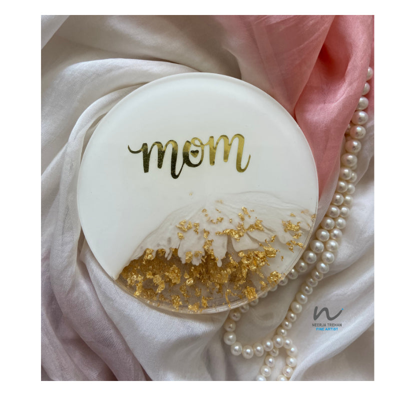 Mother's day, Mothers day gifts, gift for her, white and gold, gold leaf, coaster set, resin coasters