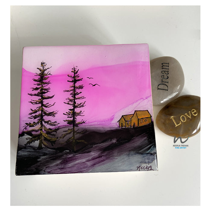 resin art, pink sky, pink and grey painting, tree art, bird painting, small art, mothers day gift, christmas gift, birthday gift, gift for her