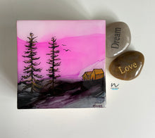 Load image into Gallery viewer, resin art, mini art, small art, pink sky, trees, tree painting, nature, resin painting,