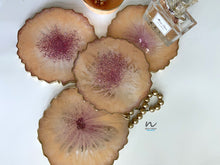 Load image into Gallery viewer, Peach with Pink Glitter Resin Coasters (set of 4) - neerjatrehan.com