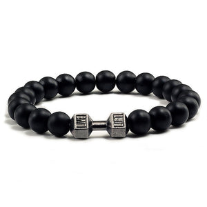 Natural Stone Dumbbell Bracelet black Matte Beads Bracelets For Women Men Fitness Barbell