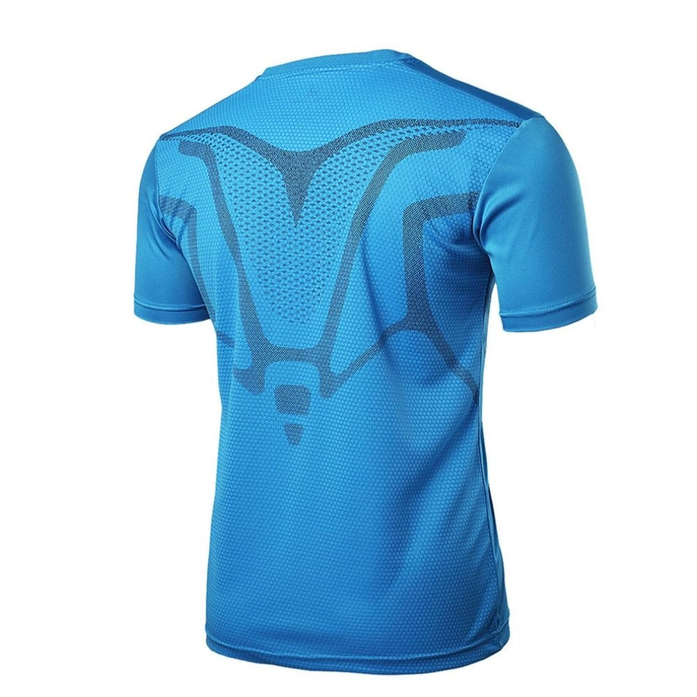 Men Short Sleeve T-Shirt Outdoor V-neck Sports  Quick Dry Slimming Body Shapers Running Athletic Top