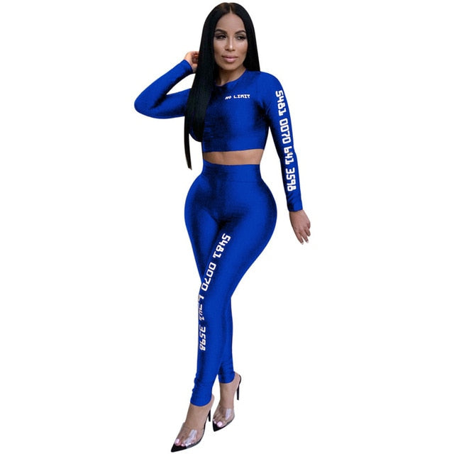 Women Letter Printing Athletic Two Piece Set Elastic Long Sleeve Short Sport Suits Outwear