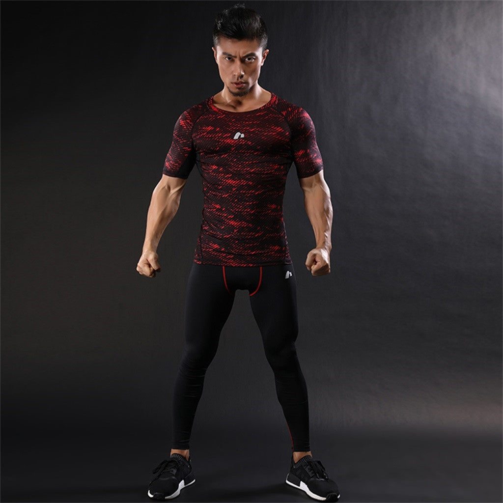 Men's Compression Tops Athletic Running Training Gym T-shirts quick-dry fit Base Layer Sportswear