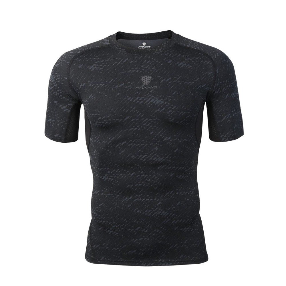 Men Short Sleeve T-Shirt Outdoor Athletic Sports Top Quick Dry Workout Slimming Body Running