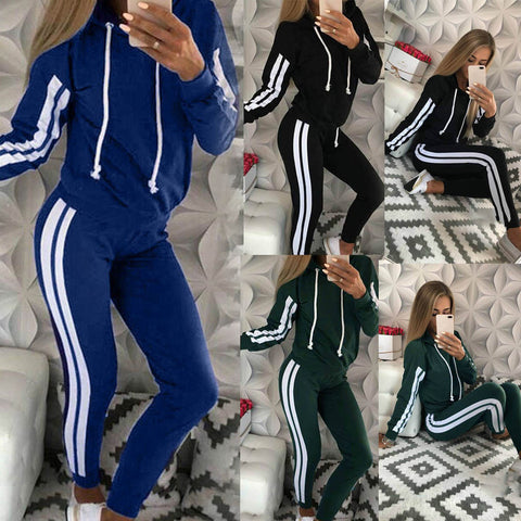 Womens Fashion Casual Stripe Hooded Long Sleeve Athletic Two Piece Suits
