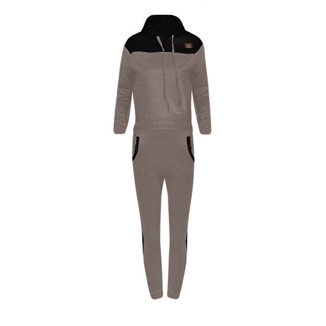Women Athletic Two Piece Set Casual Splice Mesh Hooded Sport Tops+Long Pants