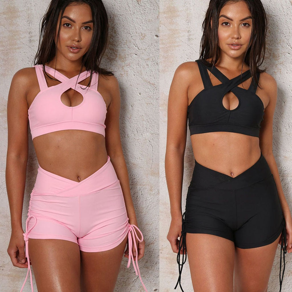 Women Athletic Two Piece Set Sleeveless Bandage Tank Elastic Sports Wear