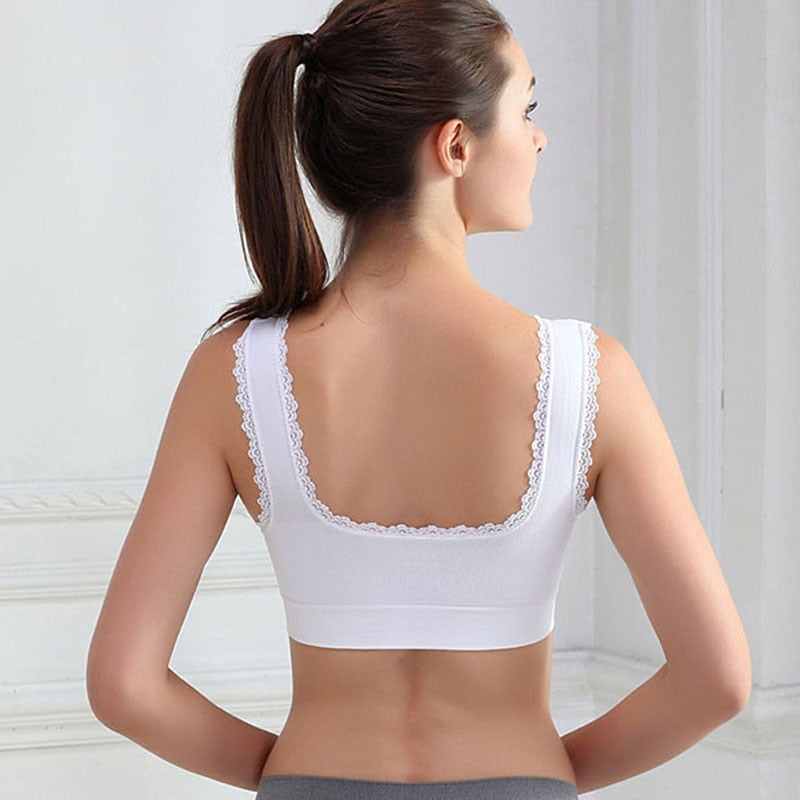 Comfort Sports Bras Lace Trim Women Padded Wireless Yoga Gym Clothing