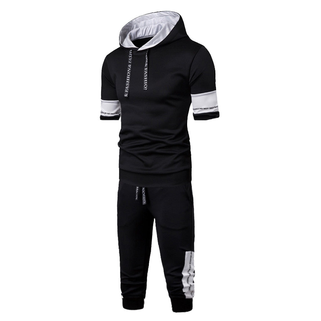 Tracksuit Men Summer New Comfortable Short Sleeve Pants Athletic Two Piece Set