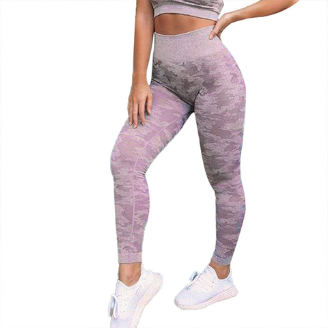 Women's Seamless Printed Sports Athletic Running High Elasticity Tight Bottom-up