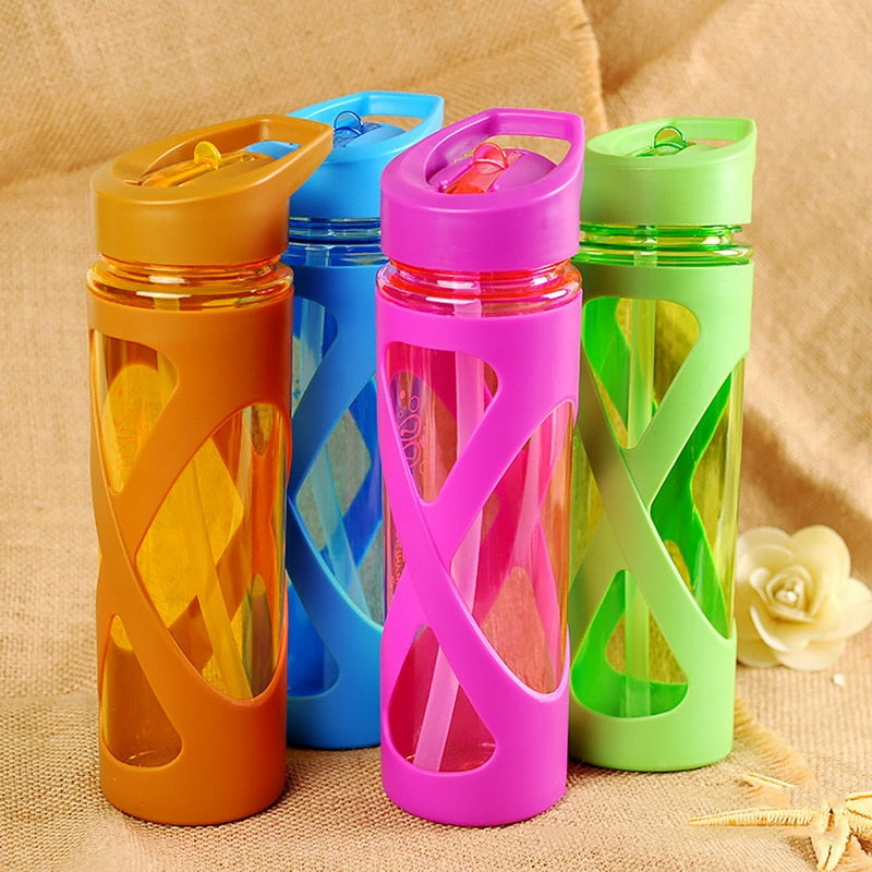 Silicone Circle Sealing Camping Sports Water Bottle Anti Hot Plastic Sleeve  Straw