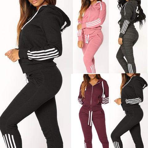 Womens Tracksuit Set Casual Stripe Zipper Long Sleeve Athletic Two Piece Suit