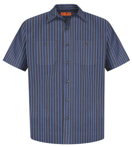 Red Kap Short Sleeve Striped Industrial Work Shirt.  CS20