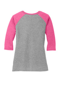 District Women's Perfect Tri 3/4-Sleeve Raglan. DM136L
