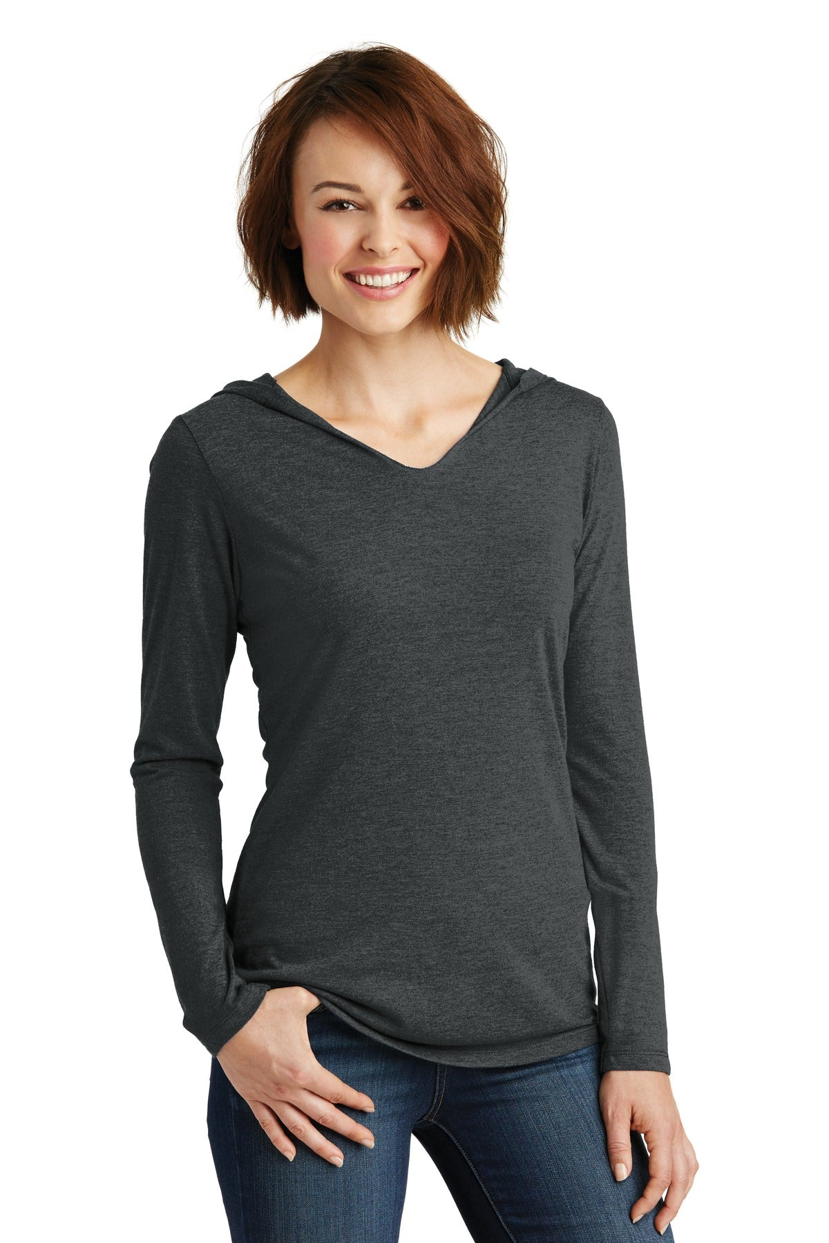 District Women's Perfect Tri Long Sleeve Hoodie. DM139L