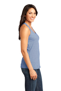 CLOSEOUT District Made - Ladies Mini Stripe Gathered Racerback Tank. DM421