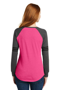 District  Women's Game Long Sleeve V-Neck Tee. DM477
